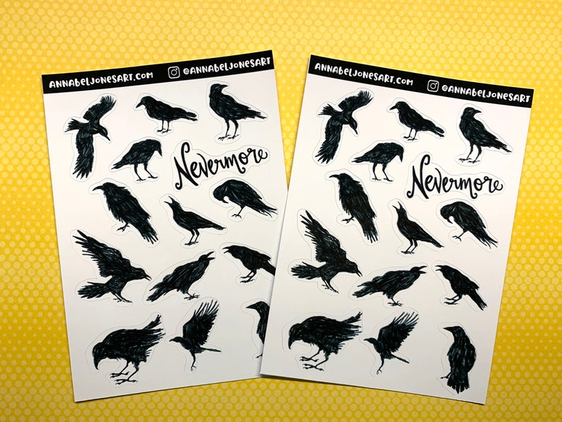 Black Crow Stickers Planner Goth Spooky image 0