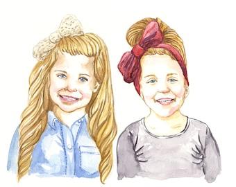 Custom Portrait: 11x14 Multi Person Watercolor