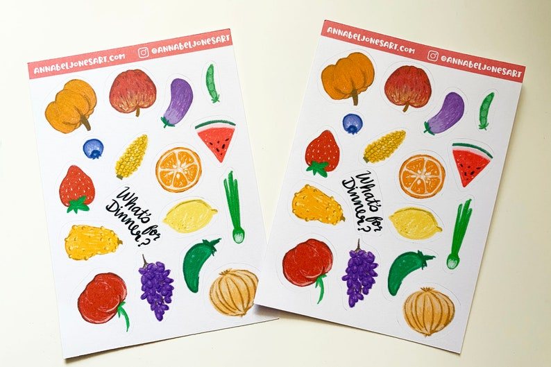 What's for Dinner Stickers Fruits and Veggies Food image 0