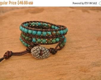SALE 50% OFF Fleur Turquoise Leather Beaded Wrap Bracelet