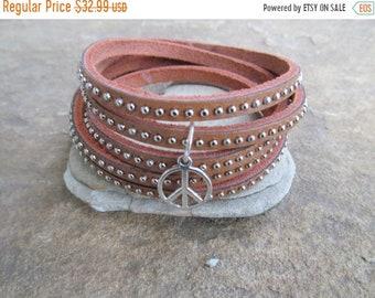SALE 50% OFF Peace Studded  Natural Leather Wrap Bracelet