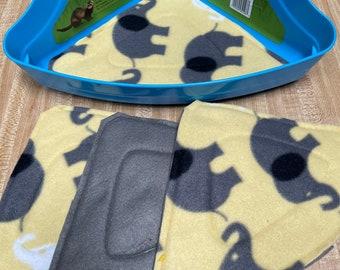 Eco Friendly Corner Litter Potty Pads, Set of 4, Ready to ship, Yellow Elephants