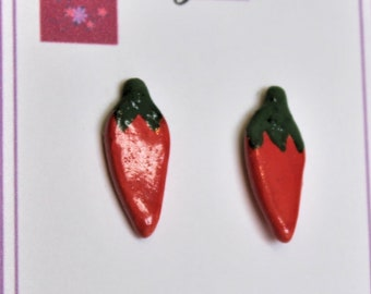 Red Chili Pepper Ceramic Post/Stud Earrings // Handmade Jewelry // Gift for Her //