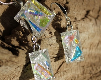 Set of Dichroic Glass Dangle Earrings and Pendant // Silver Chain // Gift for her // Handmade one of a Kind Jewelry