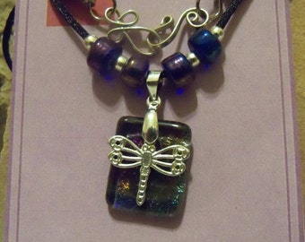 Lucky Dragonfly on Dichroic Glass Necklace // Gift for Her // One of a kind Handmade Jewelry