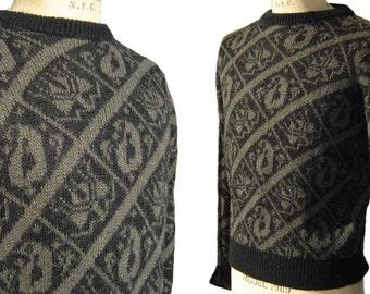 4ca43a708a224 Vintage 70s Pucci Sweater Mens Intarsia Brown   Black Vivara XL