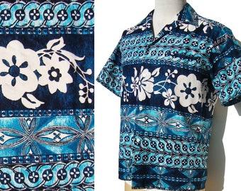 8523f4d64dd21 Vintage 70s Aloha Shirt Blue Hawaiian Tiki Barkcloth Pareo Print Kurohara -  L