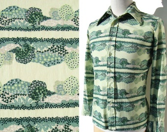 f51036e578067 Vintage 70s Disco Shirt Christopher Rand Scenic Novelty Print M
