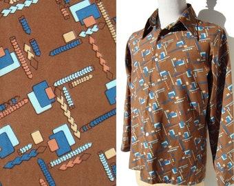 b5c3dde5fab32 Vintage 70s Levis Panatela Tops Shirt Modernist Color Block Novelty Print L