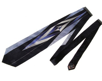 Vintage Silk Tie Pierre Balmain Art Deco Style Wide Necktie