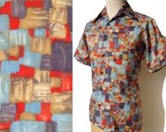 Vintage 70s Modernist Shirt Multicolor Disco JC Penney S