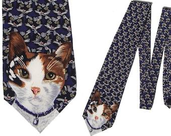 Vintage Cat Tie Calico Kitty Necktie HSUS