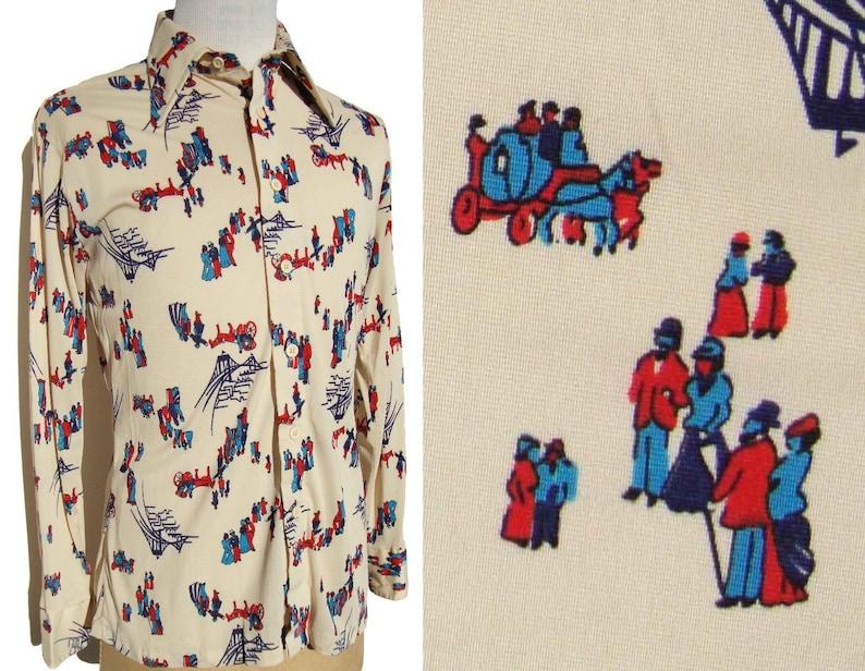 Vintage 70s Disco Shirt Antique People Novelty Print by Career Club \u2013 L