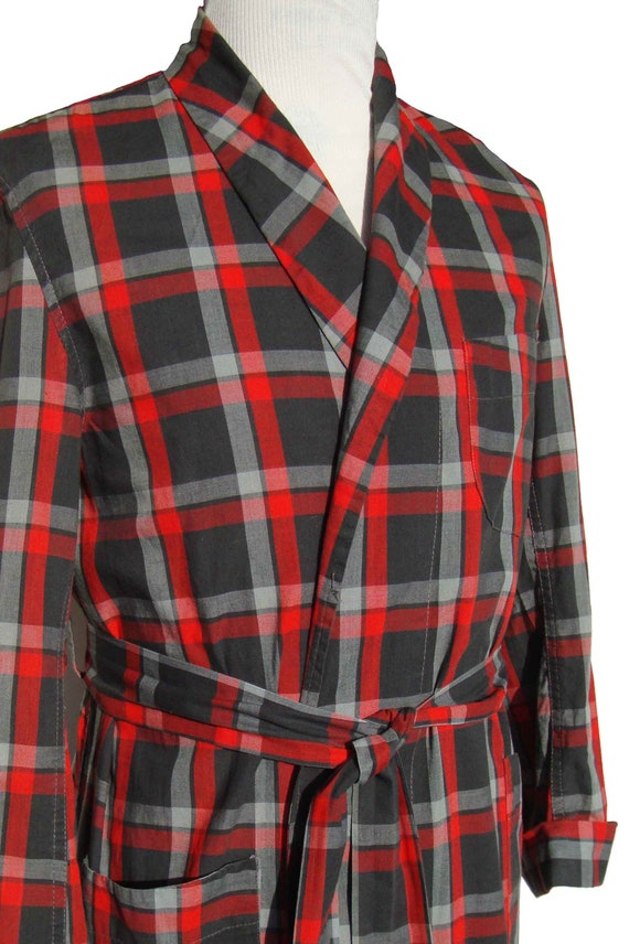 60s Shadow Plaid Robe for Men Size M to L