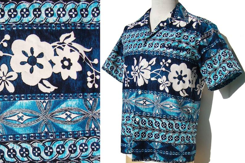 79cffe4e Vintage 70s Aloha Shirt Blue Hawaiian Tiki Barkcloth Pareo | Etsy