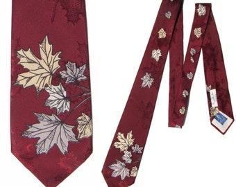 Vintage 50s Beau Brummell Tie Burgundy Maple Leaf Damask Necktie