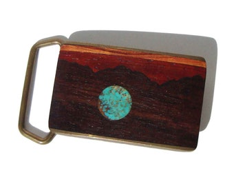 Vintage BTS Belt Buckle Wooden Intarsia & Turquoise Landscape