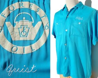 Vintage 50s Turquoise Bowling Loop Shirt Nat Nash L