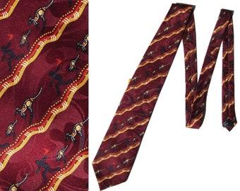 Vintage Australian Tie Jeanette Timbery Kangaroo Tribal Necktie Deadstock w/ Tag
