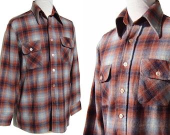 Vintage 70s Mens Wool Shirt Plaid Sports Jacket L
