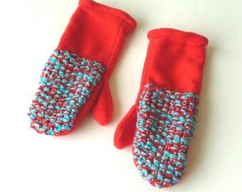 Mittens - Turquoise - Red - Handknit - Handsewn -  Hand Made - Polarfeece - Warm - Long Cuff - Coordinate - UNIQUE