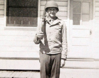 Vintage Photo Old Photograph WWII Soldier Man With Gun in Uniform.