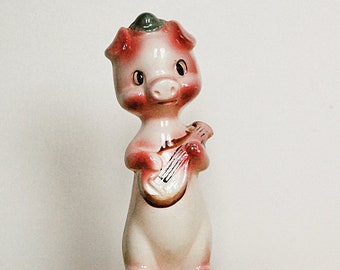 Vintage Pink Pig Ceramic Figurine Playing Guitar Made in Japan 1950s.