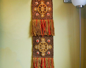 Vintage Earthy Handmade Textile Art Weave Wall Hanging Macrame Boho 1970s Hippie Art with Fringe Red Rust and Brown.