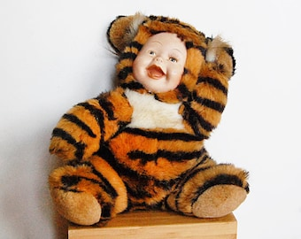 Vintage Rubber Face Tiger Plushy Stuffed Animal Baby Collectible