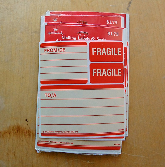 vintage red mailing labels with fragile stickers by hallmark etsy