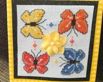 Butterflies Cross Stitched Card