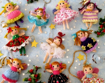 """10 TINY FAIRIES - 4"""" (10cm) - quick and easy fairy knitting pattern - Christmas fairy - pdf instant download - Dollytime knitted doll"""