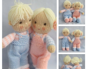 """Jack and Jill - 9"""" (23cm)  - doll knitting patterns - knitted baby dolls - PDF Instant Downlowd - Dollytime"""