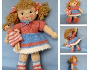 """Lulu and little doll - 12"""" (30cm) - knitting pattern - INSTANT DOWNLOAD -"""