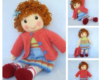 "Belinda Jane - 18"" (45cm) - doll knitting pattern -  Pdf INSTANT DOWNLOAD - knitted toy doll"
