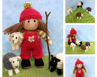 Bo Peep and her sheep. Knitted doll and sheep knitting pattern. PDF INSTANT DOWNLOAD