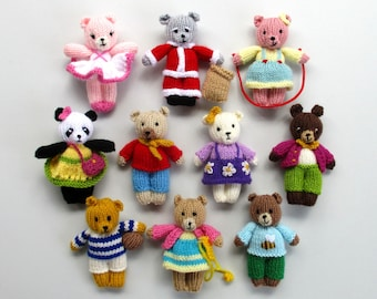 """10 BUSY LITTLE BEARS - 4"""" (10cm) - teddy bear knitting pattern - Doll house size - pdf instant download - Dollytime knitted bear"""
