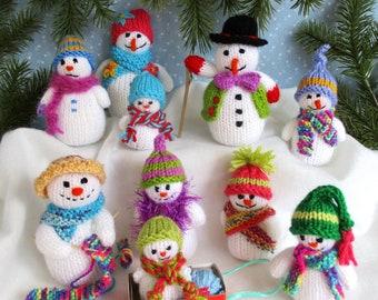 "10 SNUG LITTLE SNOWMEN - 2"" - 4"" snowman knitting pattern - Christmas - Holidays - pdf instant download - Dollytime"