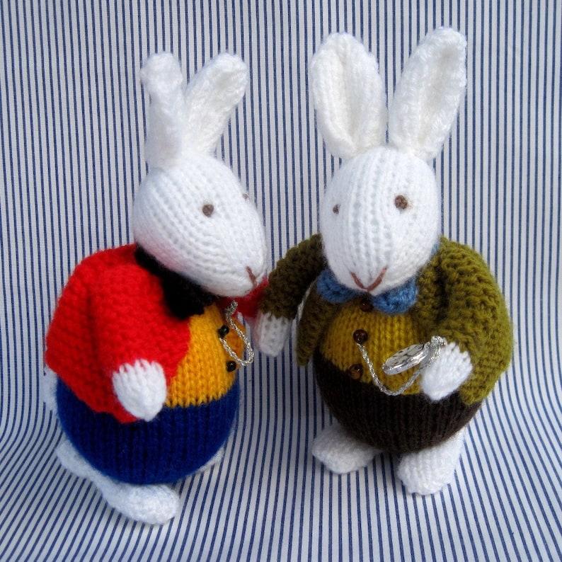 7 18cm White Rabbit in Wonderland knitting pattern  image 0
