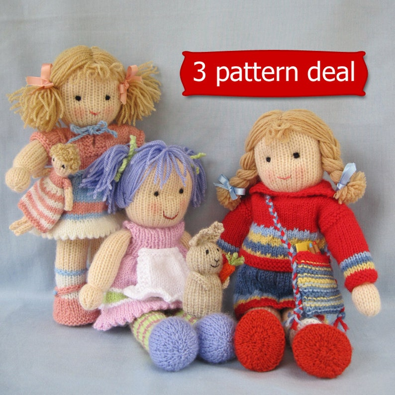 fdf07d45cc7437 Lucy Lavender Tilly and Lulu doll knitting patterns