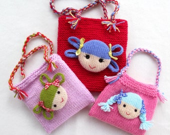 """Jolly Dolly Bags - 6"""" (15cm) - knitting patterns - INSTANT DOWNLOAD"""