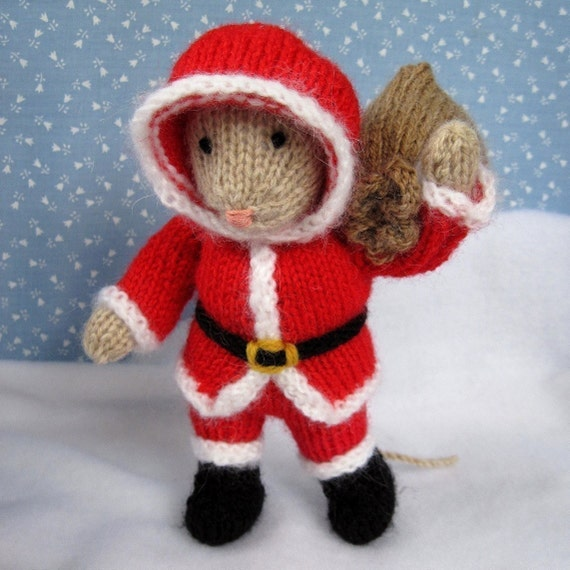 Santa Mouse Knitting Pattern Instant Download Etsy