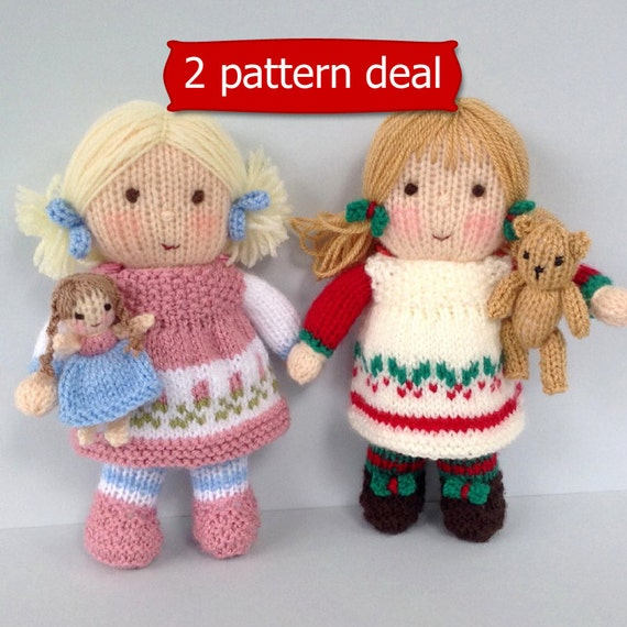 Dolly Rose And Holly Berry With Tiny Doll And Teddy Knitting