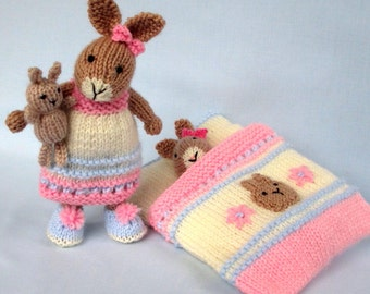 """Bedtime Bunny - 7.5"""" (18cm) - plus toy bunny and sleeping bag - Knitted rabbit doll pattern. INSTANT DOWNLOAD"""