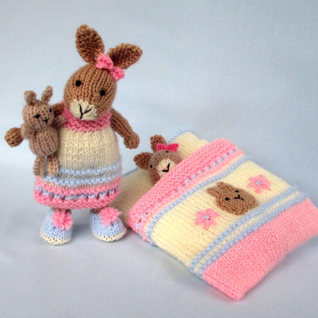 Bedtime Bunny Plus Tiny Toy Bunny And Sleeping Bag Knitted Etsy