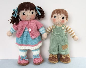 """Penny and Patch - 10"""" - 12"""" (26cm - 30cm) - doll knitting pattern - - PDF instant download"""