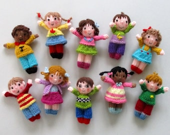 """10 CUTE LITTLE KIDS - 4"""" (10cm) - toy doll knitting pattern - Dolls house size - pdf instant download - Dollytime knitted doll"""