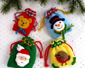 """Bags of Festive Fun - 4"""" (10cm) Christmas bags - party bags - Christmas tree decorations - PDF instant download"""