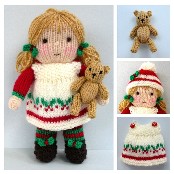 Holly Berry And Tiny Teddy Knitting Pattern Pdf Instant Etsy