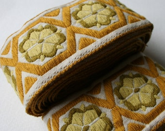 Mustard Gold Pea Green and Avocado Vintage Wide Woven Trim